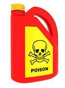 Jerrycan of poison on a white background Stock Photos