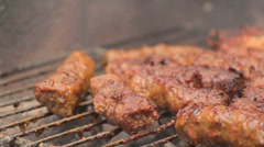 Barbecue Grill Minced Meat Kebabs 6 Stock Footage