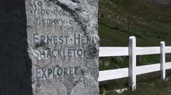 The grave of Ernest Shackleton Stock Footage