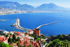 View of alanya harbor from alanya peninsula. turkish riviera Stock Photos