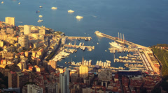 Time lapse view of monaco, monte carlo harbor at evening warm sunlight Stock Footage