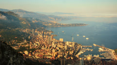 cinematic evening time lapse of Monaco with panning camera, Monte Carlo - stock footage