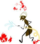 ant fireman - stock illustration