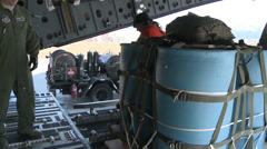 Cargo drops at the Deadhorse drop zone during Arctic Pegasus 2014 Stock Footage
