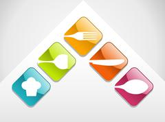 Colorful gourmet icons set - stock illustration