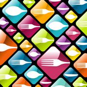 Dishware gourmet icons background - stock illustration