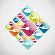 Cutlery glassy web icons background - stock illustration