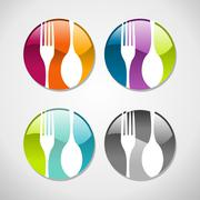 Gourmet glossy web button icons set - stock illustration
