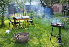 Barbecue in the garden Stock Photos