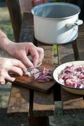 Raw meat cutting - stock photo