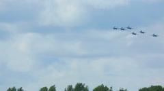 Su-27 Sukhoi jet fighters performing aerobatic flight Stock Footage