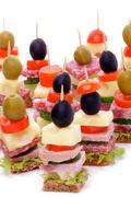 Arrangement of Appetizers Stock Photos