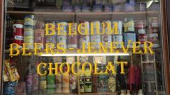 Belgian beer and chocolate window shop, antwerp, belgium Stock Footage