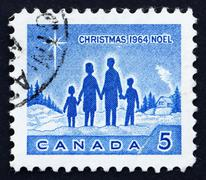 Postage stamp Canada 1964 Family and Star of Bethlehem Stock Photos