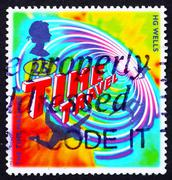 Postage stamp GB 1995 Illustration for Time Machine - stock photo