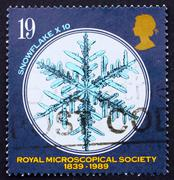 Postage stamp GB 1989 Snowflake under Microscope - stock photo