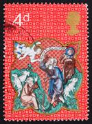 Postage stamp GB 1970 Angel appearing before the shepherds - stock photo