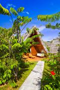 Bungalow in hotel at tropical beach Stock Photos
