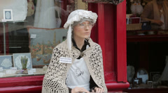 Lace shop and mannequin, antwerp, belgium Stock Footage