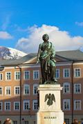 Mozart statue in Salzburg Austria - stock photo