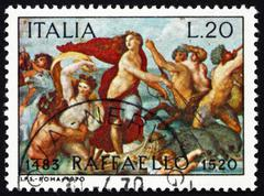 Postage stamp Italy 1970 The Triumph of Galatea, Fresco by Rapha Stock Photos