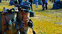 coaching team paintball equipment on background - stock footage