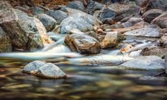 Flowing River over Rocks at Chantry Flats - stock photo