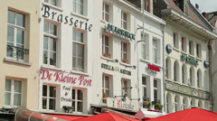 Restaurant and cafe signs, antwerp, belgium Stock Footage