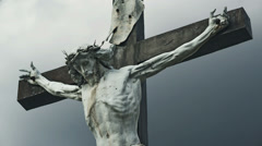 The Crucifixion. Christian cross with Jesus Christ crucified Stock Footage