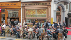 belgian frites shop, cafe, restaurant, brussels, belgium - stock footage
