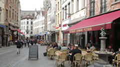 Belgian street, pavement restaurants, cafes, brussels, belgium Stock Footage