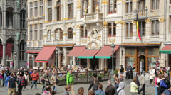 People visit restaurant and cafe, grand place, brussels, belgium Stock Footage