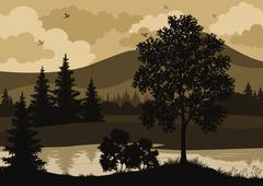 Landscape, trees, river and birds silhouette - stock illustration