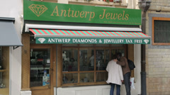 Antwerp jewels tax free shop, brussels, belgium Stock Footage