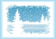 Stock Illustration of Landscape with Christmas tree, silhouettes