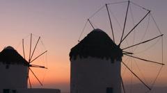 Windmills of Mykonos Stock Footage