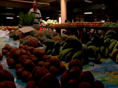 Fruit and veg with Tongan woman, people or person in shot, HD, UP15310 - stock footage