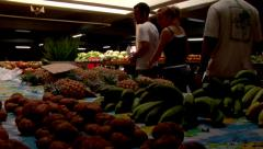Fruit and veg market with tourists, people or person in shot, HD, UP15311 - stock footage