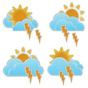 weather forecast icon in fabric style . - stock photo