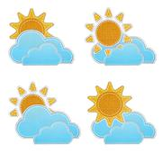 Weather forecast icon in fabric style . Stock Photos