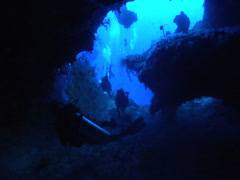 Group of scuba divers swimming in cavern in Kingdom of Tonga, HD, UP15355 Stock Footage