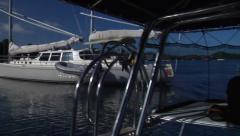 Nice yacht pans to new mercury outboards, people or person in shot, HD, UP15404 - stock footage