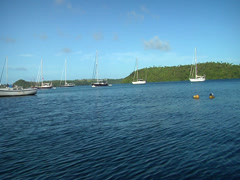 Yachts on moorings shot from moving boat, HD, UP15407 - stock footage