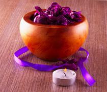 pot pourri and candle - stock photo