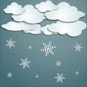 Stock Illustration of winter with white clouds