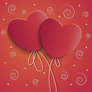 two red hearts - stock illustration