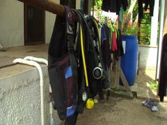 Dive gear hanging up to dry, HD, UP15683 Stock Footage