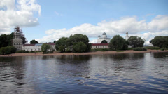 View on St. George Monastery from the river Volkhov in summer day Stock Footage