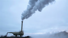 Geothermal steam exhaust machine smoke landscape, Iceland close Stock Footage
