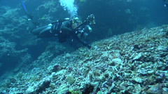 Housed SLR photographer taking images on deep coral rubble in Fiji Islands, HD, Stock Footage